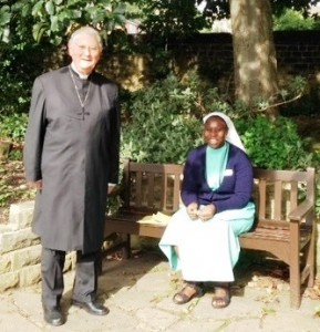 Sister Shalom, Presbyterian Prior from Cameroon with the chaplain cropped